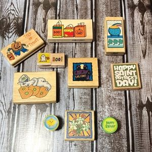 Other - Holiday Wooden Rubber Stamps-New